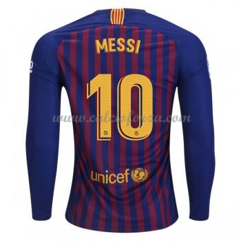 Maglia Barcelona poco prezzo Lionel Messi 10 Prima Divisa Manica Lunga 2018-19